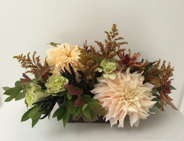 dahlias and edibles in arrangement