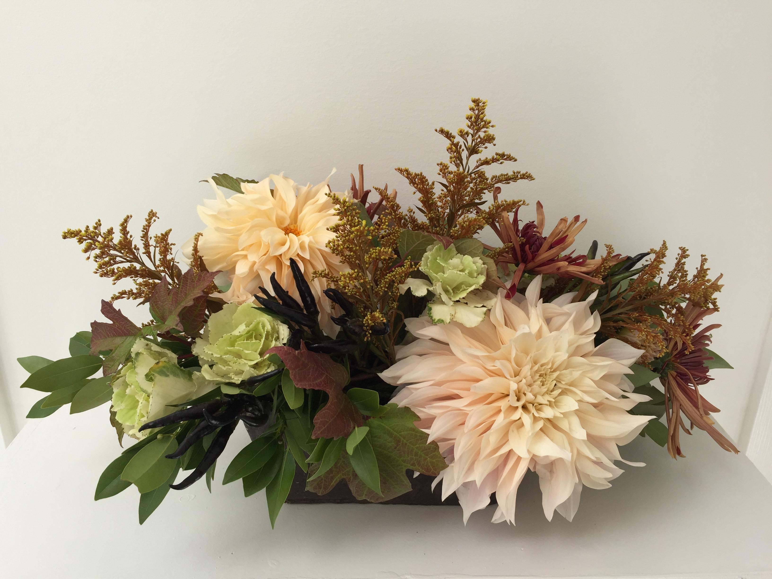 dahlias and edibles in arrangement