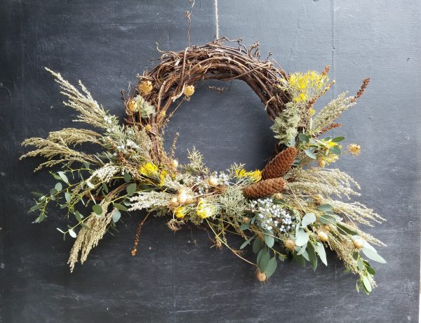 grapevine wreath with botanicals