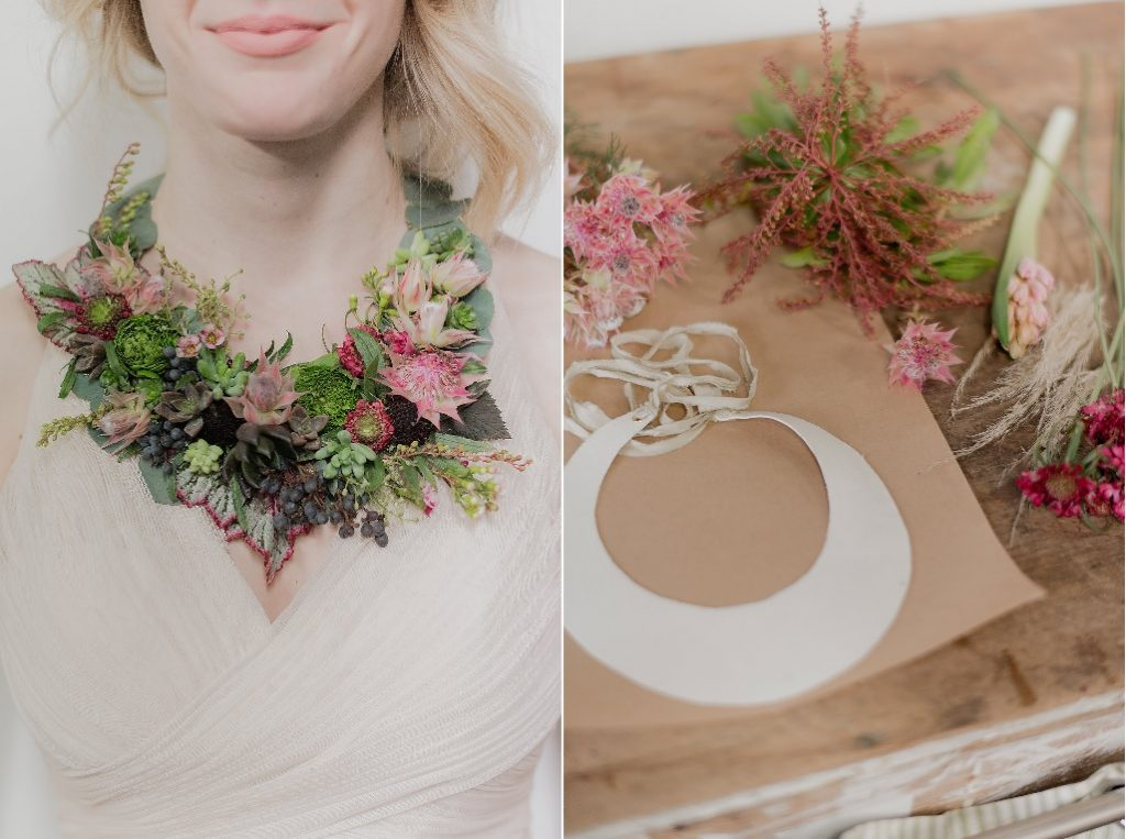 "The ""bib"" pattern (right) and my application of tiny leaves, pods, flowers and berries to create a beautiful botanical ""collar."""
