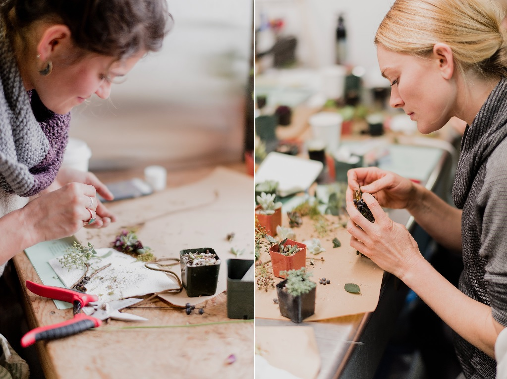 Maddie (left) and Katie (right), rendering finely-detailed jewelry from nature's tiny pieces.