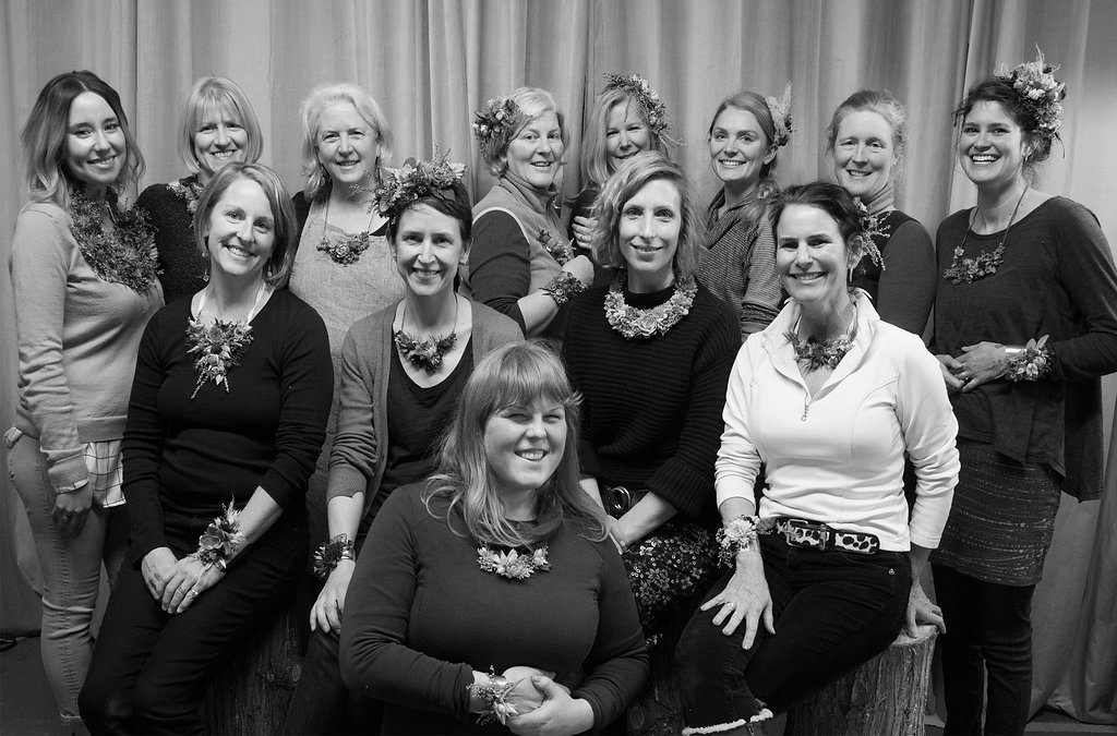 Susan McLeary, second row; second from right, shared her expertise and artistry in her Floral Jewelry intensive.