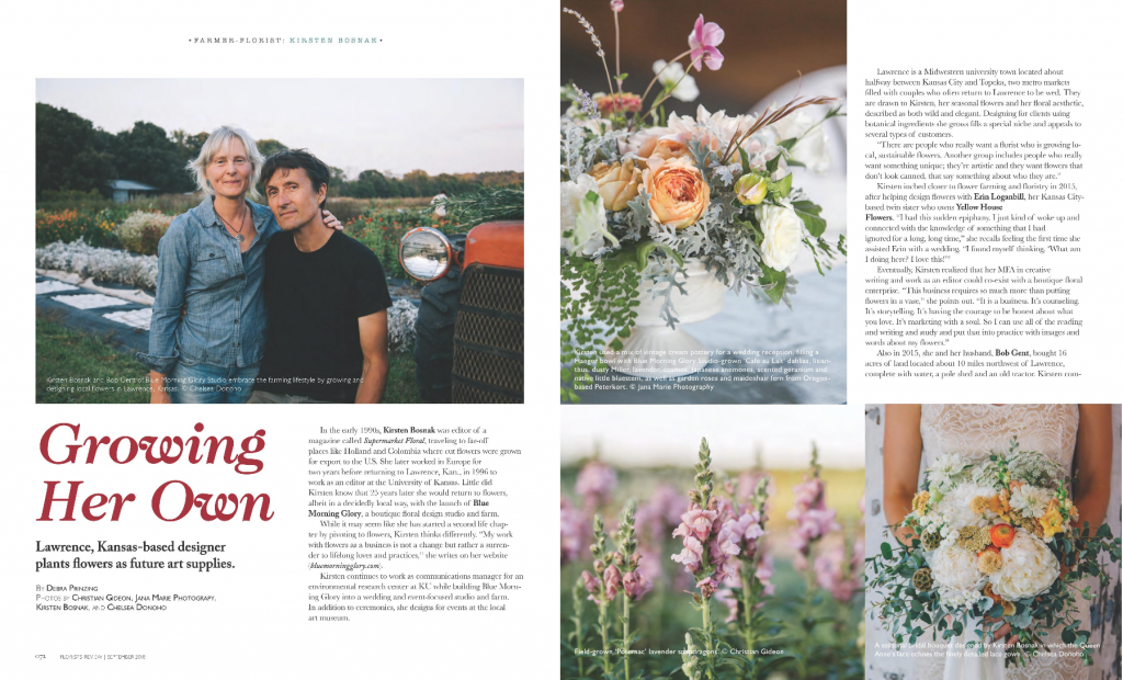 Kirsten Bosnak and Bob Gent of Blue Morning Glory Studio embrace the farming lifestyle by growing and designing local flowers in Lawrence, Kansas; ...
